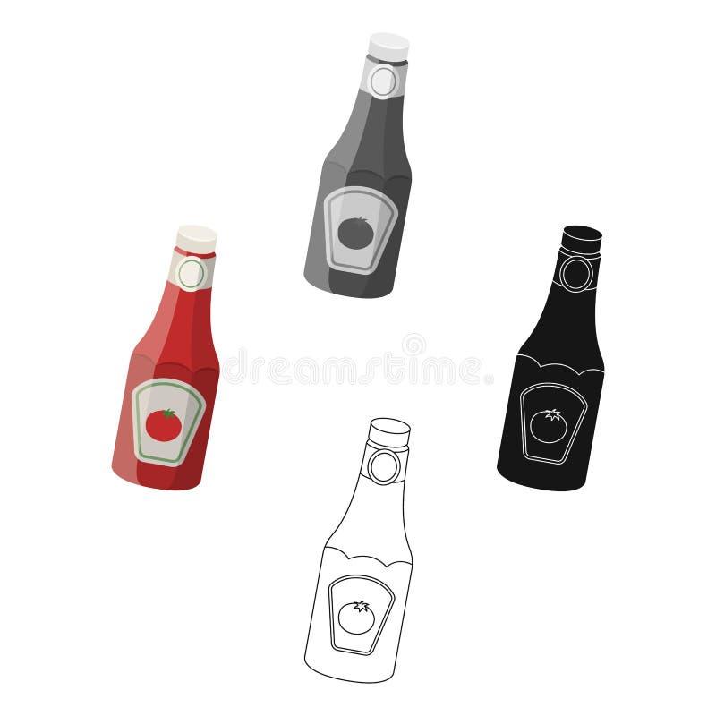 En flaska av ketchup Enkel symbol f?r BBQ i tecknade filmen, svart reng?ringsduk f?r illustration f?r materiel f?r stilvektorsymb royaltyfri illustrationer