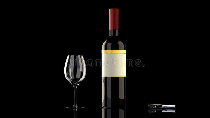 En flaska av rött vin med en vinglas och en vinflasköppnare royaltyfria foton