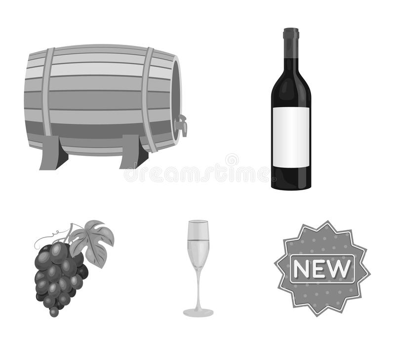 En flaska av rött vin, en vinfat, ett exponeringsglas av champagne, en grupp Symboler för samling för vinproduktionuppsättning i  stock illustrationer