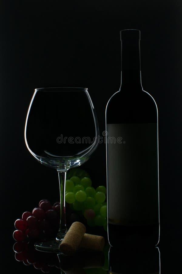 En flaska av r?tt vin med ett exponeringsglas och druvor royaltyfri foto