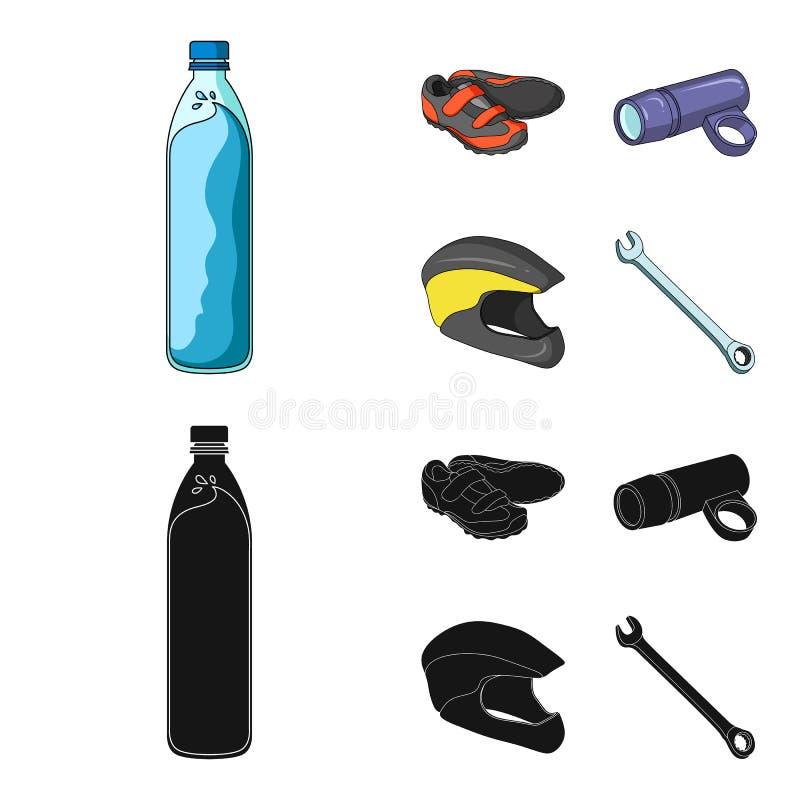 En flaska av vatten, gymnastikskor, en ficklampa för en cykel, en skyddande hjälm Symboler för samling för cyklistdräktuppsättnin royaltyfri illustrationer