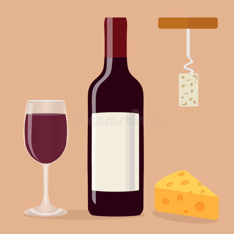 En flaska av vin, ett exponeringsglas av vin, en korkskruv och ost vektor illustrationer