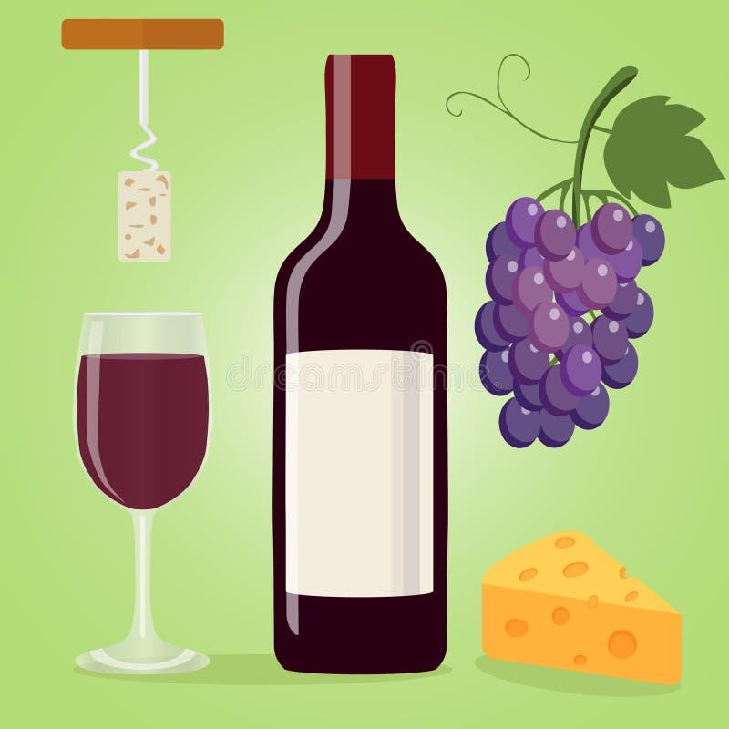 En flaska av vin, ett exponeringsglas av vin, en korkskruv och ost Druvor royaltyfri illustrationer