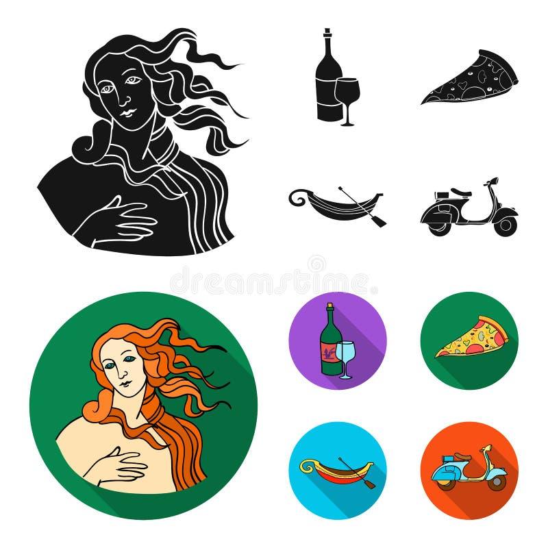En flaska av vin, ett stycke av pizza, en gundola, en sparkcykel Italien ställde in samlingssymboler i svart, symbol för lägenhet vektor illustrationer