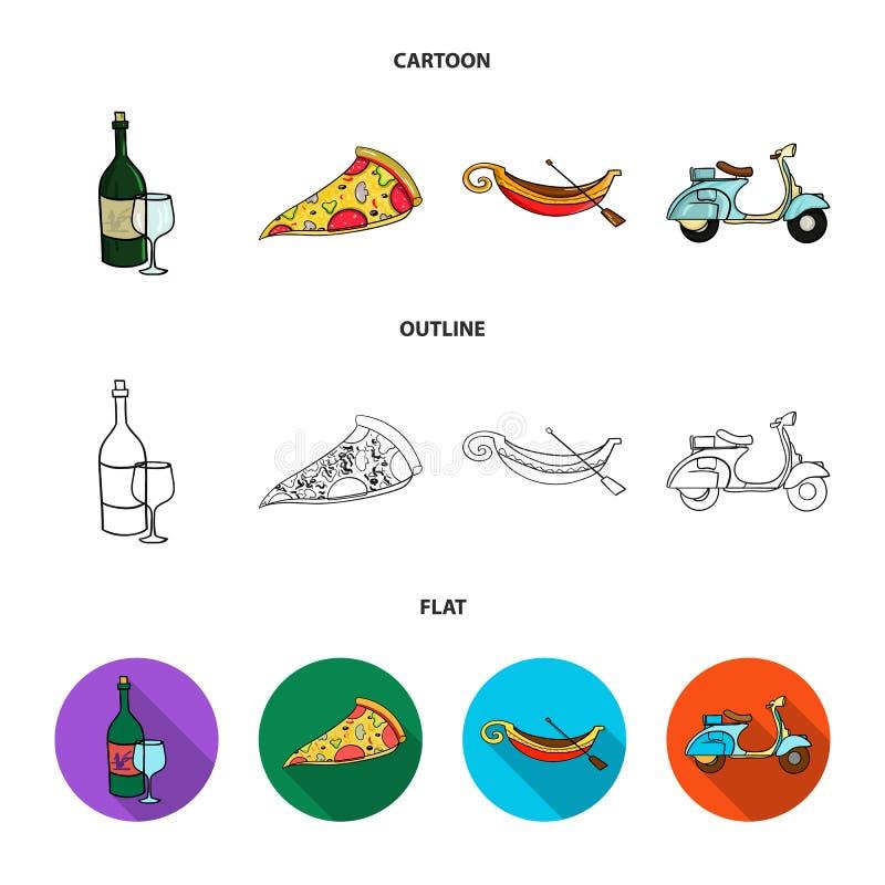 En flaska av vin, ett stycke av pizza, en gundola, en sparkcykel Italien ställde in samlingssymboler i tecknade filmen, översikte royaltyfri illustrationer