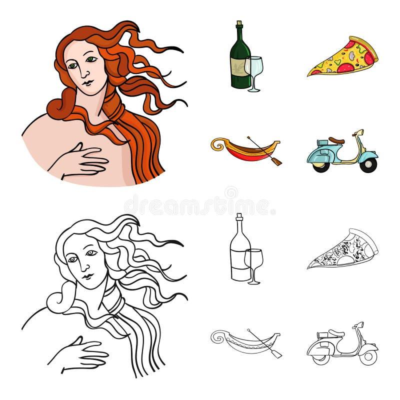 En flaska av vin, ett stycke av pizza, en gundola, en sparkcykel Italien ställde in samlingssymboler i tecknade filmen, översikts stock illustrationer