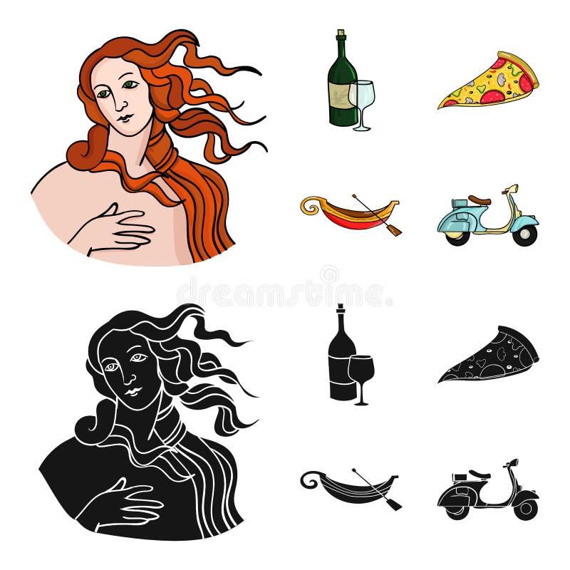 En flaska av vin, ett stycke av pizza, en gundola, en sparkcykel Italien ställde in samlingssymboler i tecknade filmen, svartstil royaltyfri illustrationer