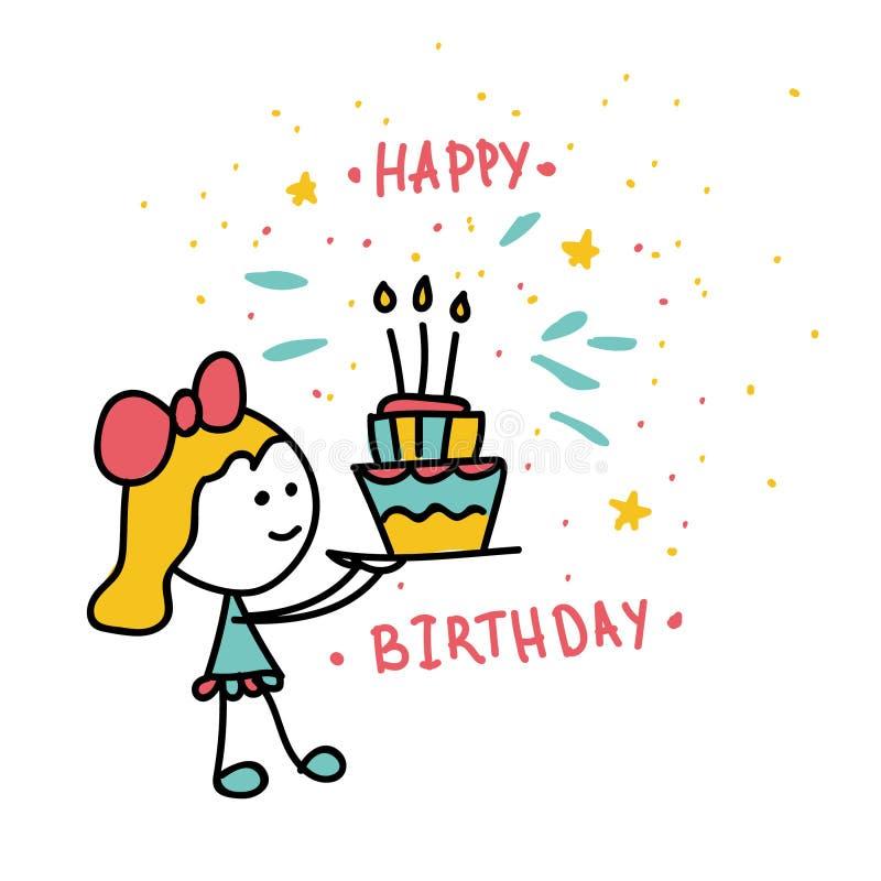En flicka bär en kaka med tre stearinljus lycklig födelsedag royaltyfri illustrationer