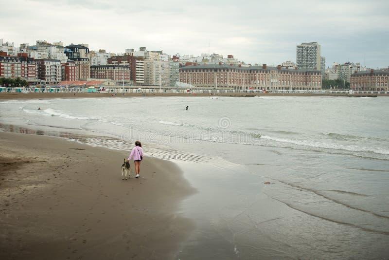 En flicka går hennes hund på stranden i Mar del Plata arkivbilder