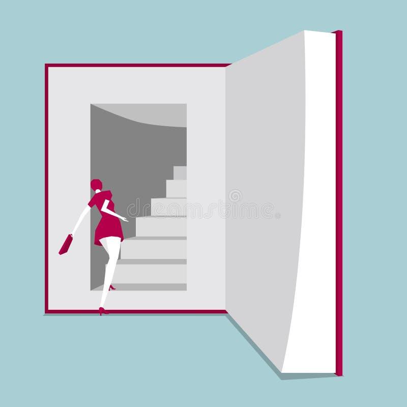 En flicka gick in i boken stock illustrationer