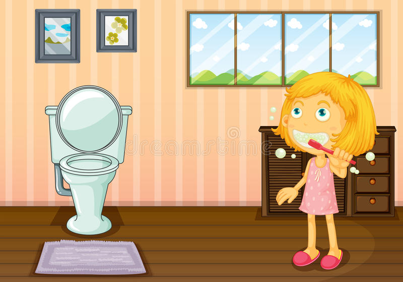 En flicka i badrummet vektor illustrationer