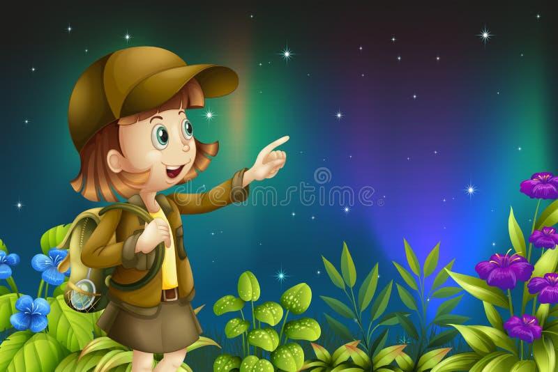 En flicka i en rainforest royaltyfri illustrationer