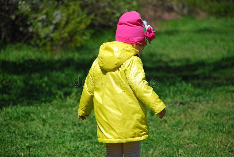 En flicka i en gul regnrock som går i skogen royaltyfria bilder