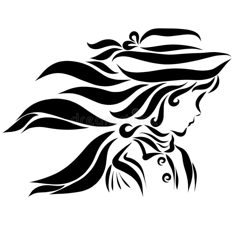 En flicka i en hösthatt och en halsduk, profil royaltyfri illustrationer