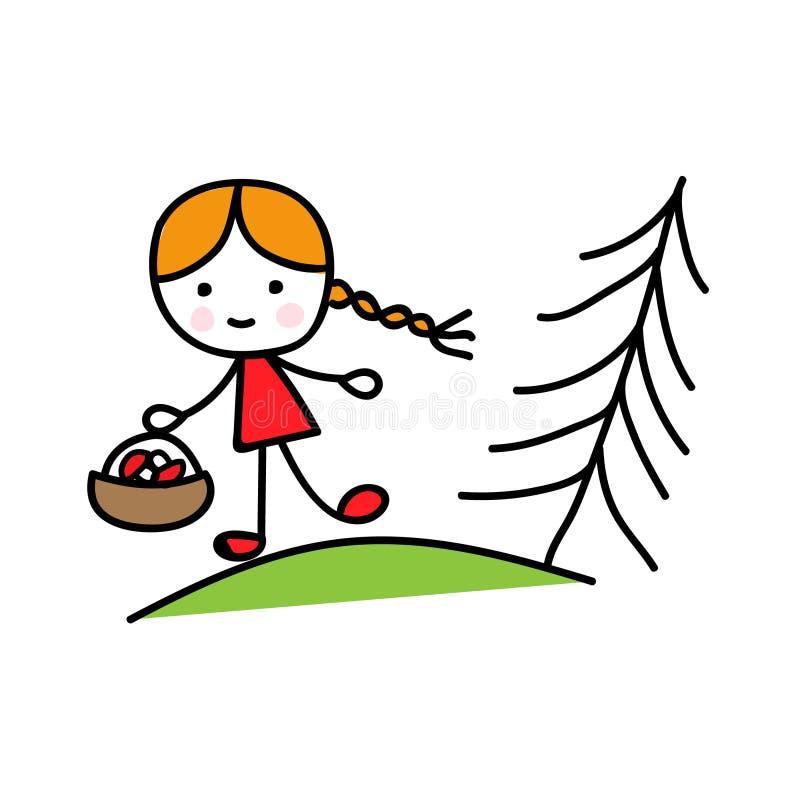 En flicka i en korg med champinjoner i skogen royaltyfri illustrationer