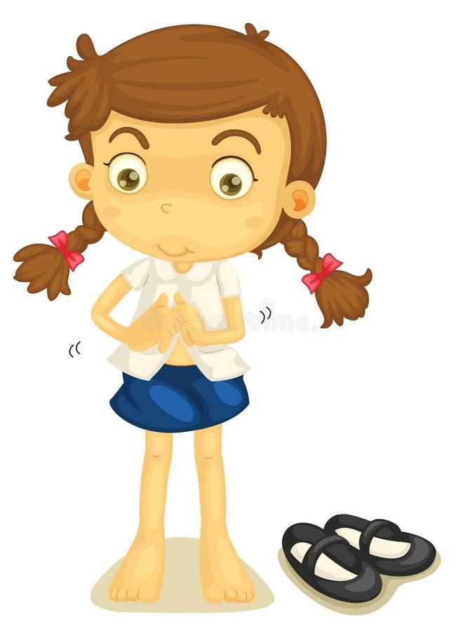 En flicka i skolalikformig vektor illustrationer