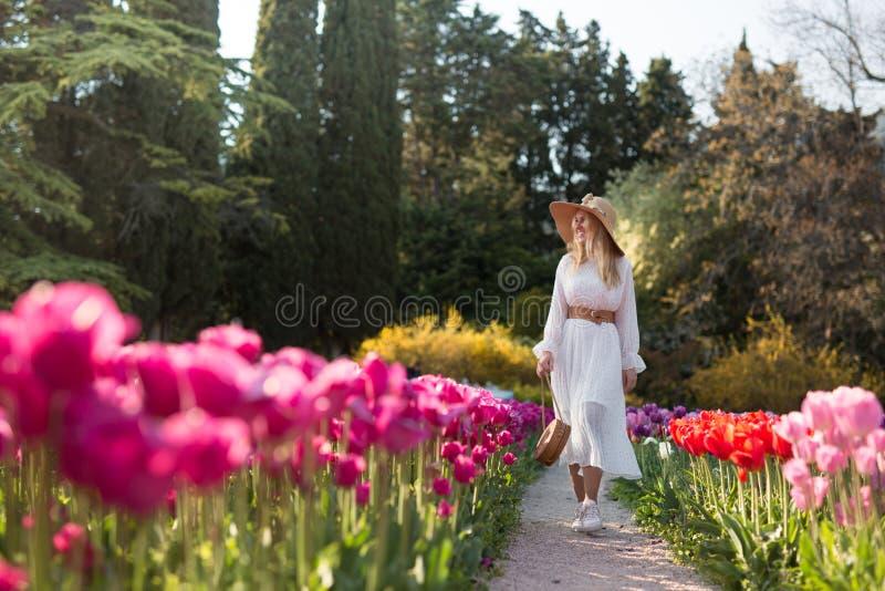 En flicka i en vit klänning och hatt som går i mitt av ett fält av härliga mång--färgade tulpan arkivbild