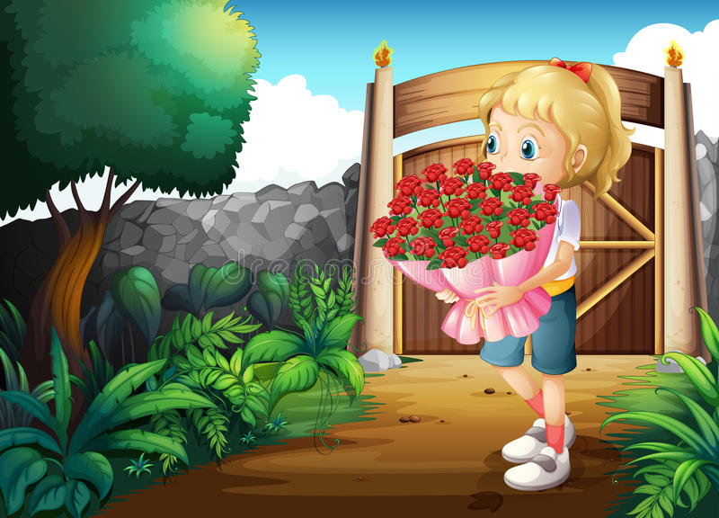 En flicka inom porten som rymmer en bukett av blommor vektor illustrationer
