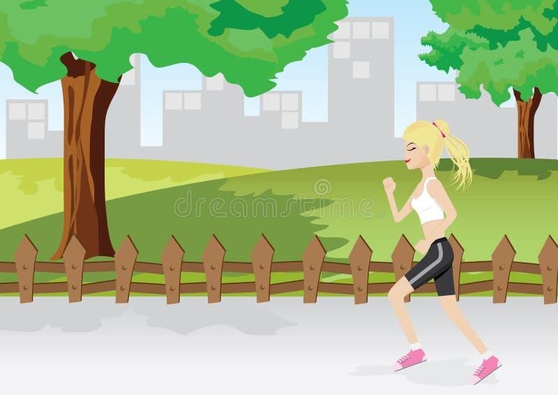En flicka joggar i en parkera stock illustrationer