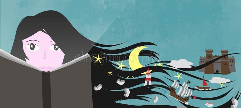 En flicka läste en bok, och hans fantasi och fantasi skapar en magisk värld vektor illustrationer