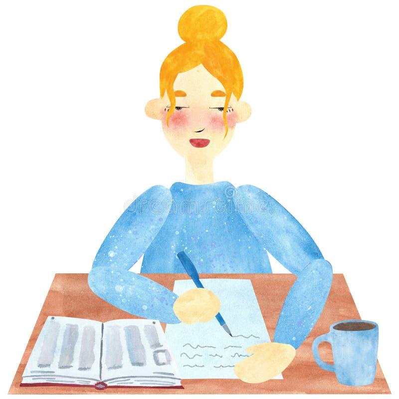 En flicka med blont hår i blått och att skriva stock illustrationer
