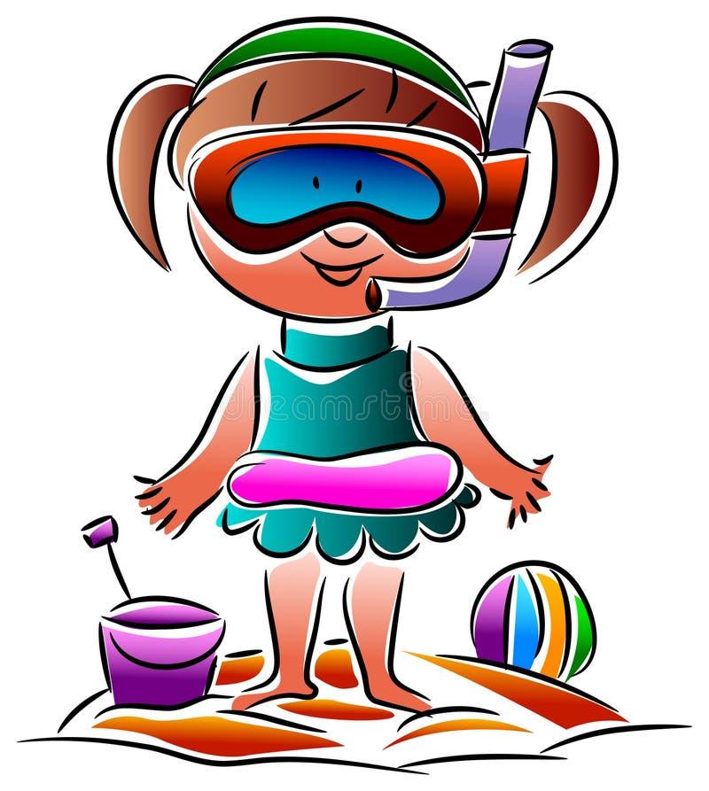 En flicka med deras snorkelutrustning stock illustrationer