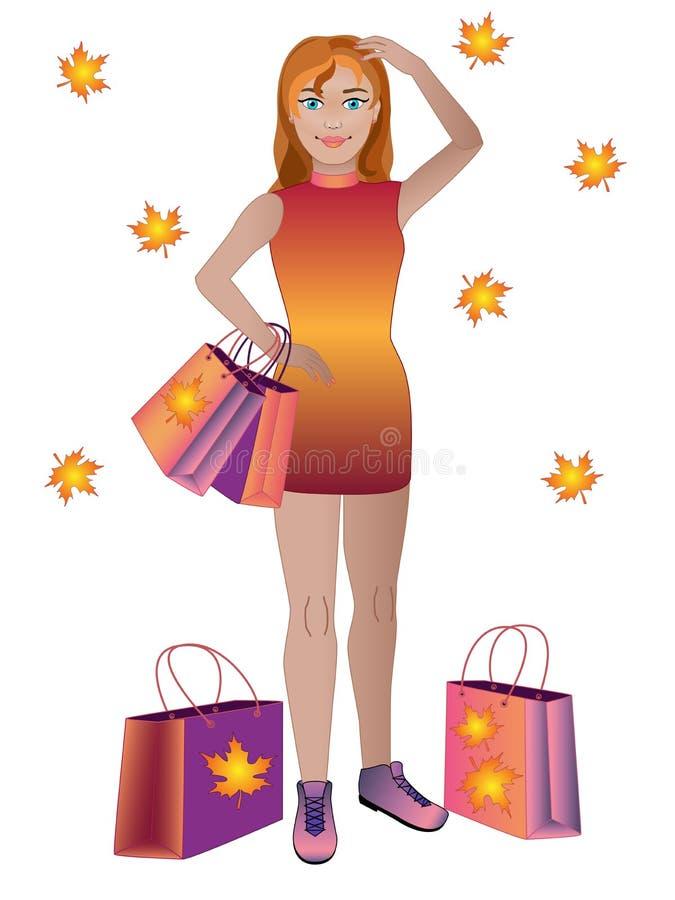 En flicka med ett stort antal köp gående tillbaka shoppingkvinna stock illustrationer