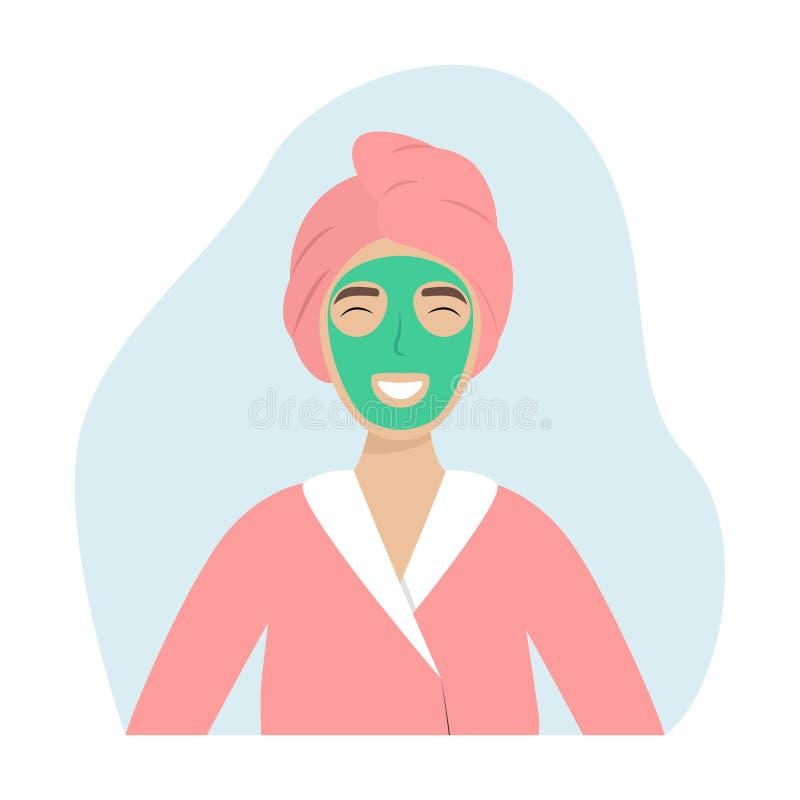 En flicka med en handduk på hennes huvud och en facemask Spa Sk?nhettillv?gag?ngss?tt royaltyfri illustrationer