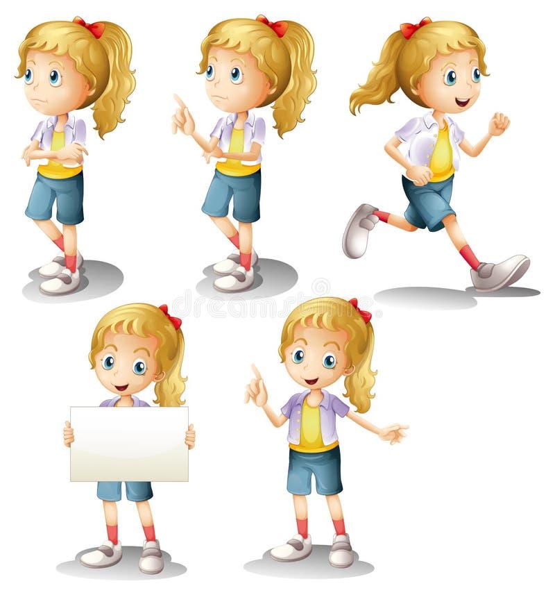 En flicka med olika positioner royaltyfri illustrationer