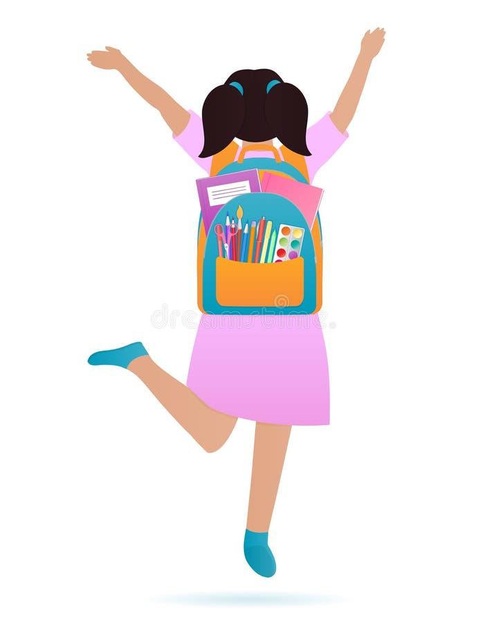 En flicka med en ryggsäck på henne baksida hoppar tillbaka begreppsskola till royaltyfri illustrationer