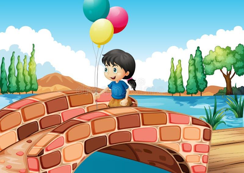 En flicka med tre ballonger som promenerar bron vektor illustrationer