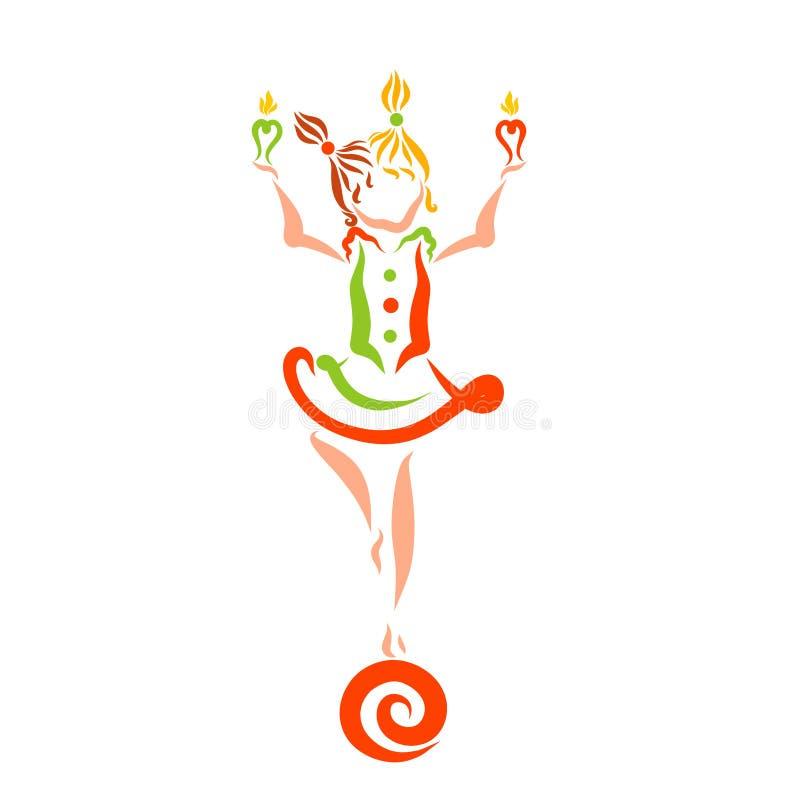 En flicka med två stearinljus i deras händer som står på bollen, ag stock illustrationer