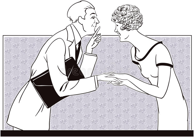 En flicka och en man berättar hemligheter för illustrationorange för bakgrund ljust materiel stock illustrationer