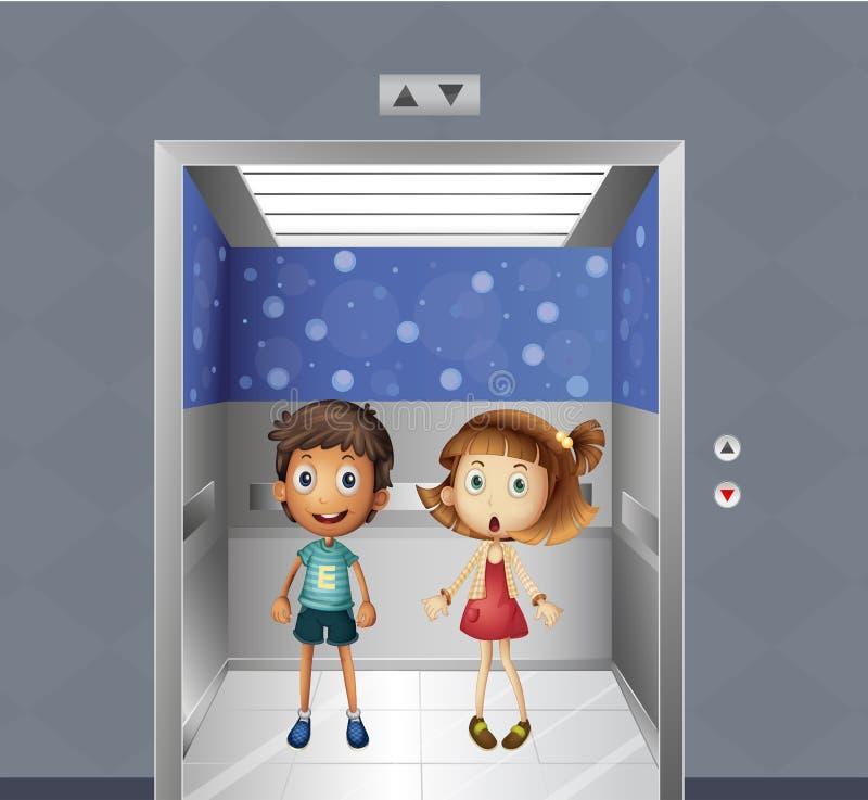 En flicka och en pojke inom hissen vektor illustrationer