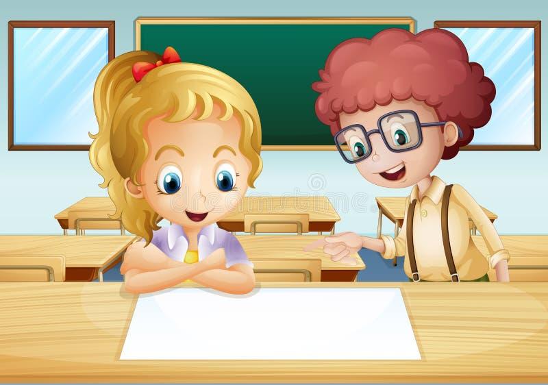 En flicka och en pojke som håller ögonen på den tomma skylten inom classroen vektor illustrationer