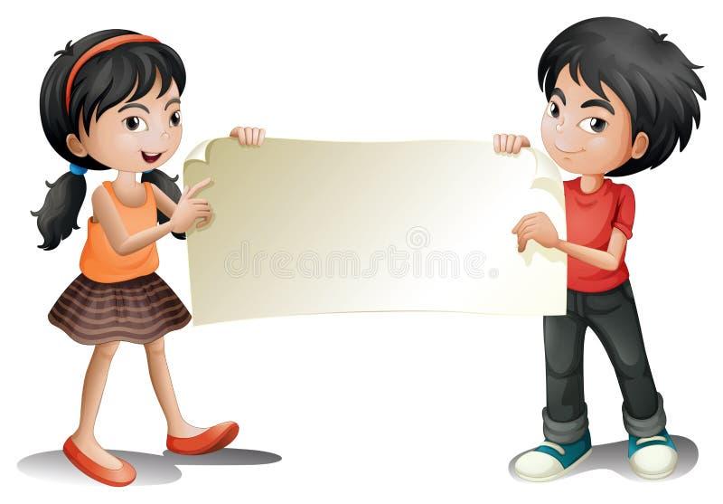 En flicka och en pojke som rymmer en tom signage royaltyfri illustrationer