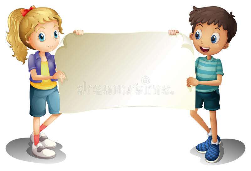 En flicka och en pojke som rymmer ett tomt baner royaltyfri illustrationer