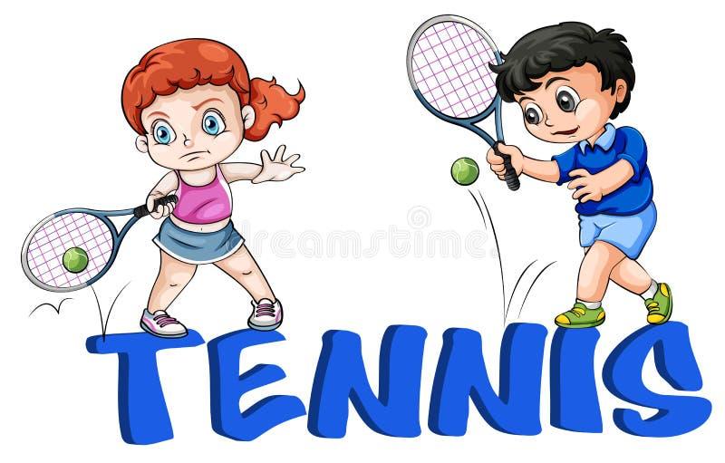 En flicka och en pojke som spelar tennis royaltyfri illustrationer