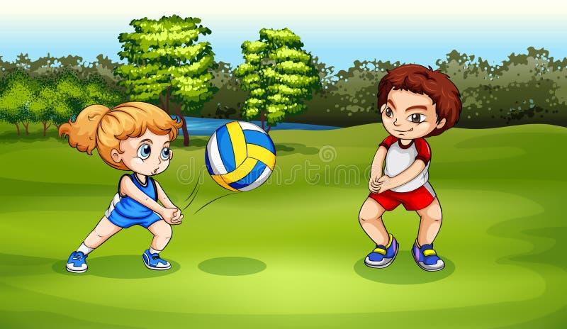 En flicka och en pojke som spelar volleyboll vektor illustrationer