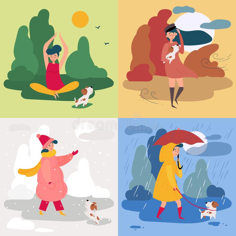 En flicka och fyra säsonger och väder Snöig regnigt stock illustrationer