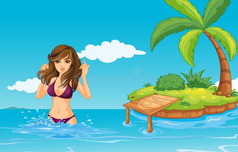 En flicka på havet med en ö royaltyfri illustrationer