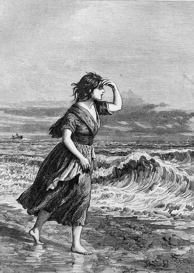 En flicka på stranden under en storm stock illustrationer