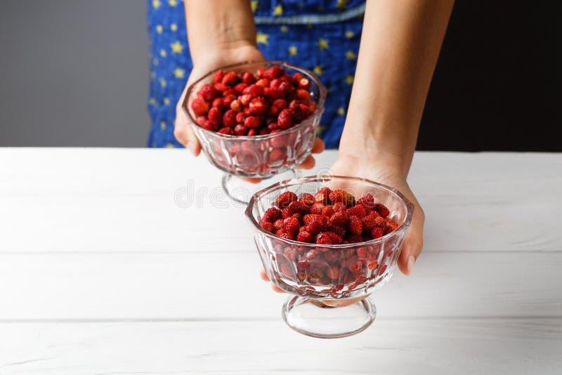 En flicka rymmer en glass bunke med mogna röda jordgubbar close upp fritt avstånd Kopieringsspase royaltyfri fotografi