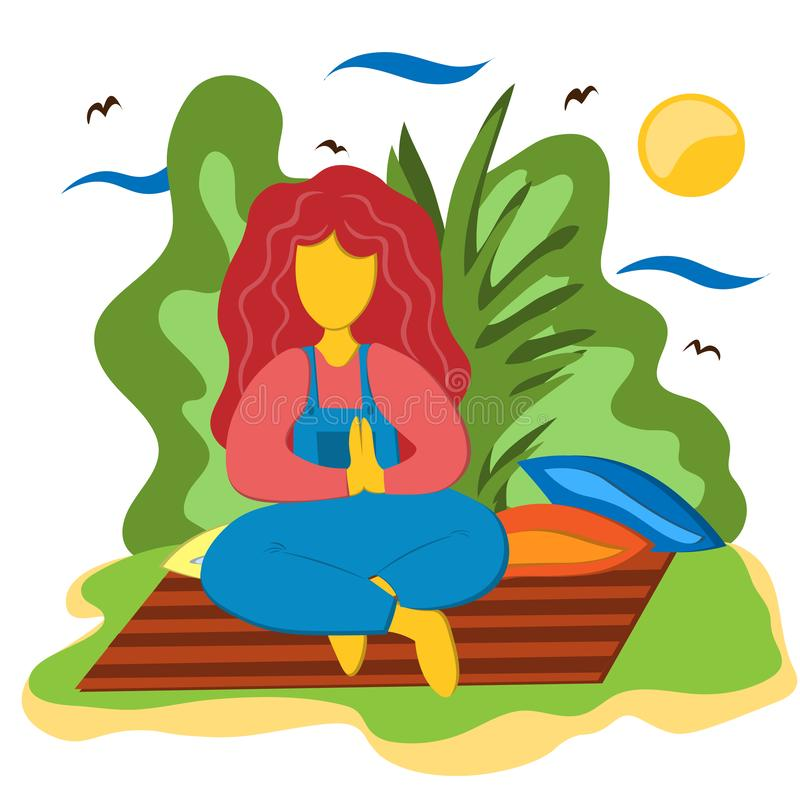 En flicka sitter i en lotusblommaposition och en övningsyoga på en filt i trädgården Illustration i plan stil stock illustrationer