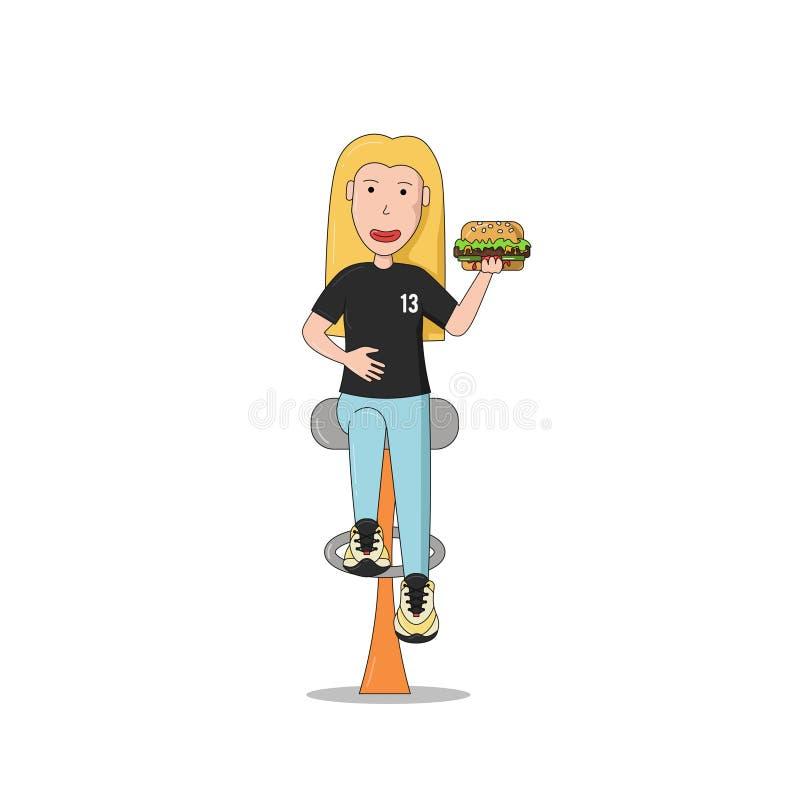 En flicka sitter med en hamburgare arkivbilder