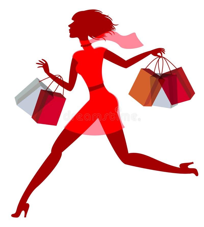 En flicka skynda sig shopping på försäljning stock illustrationer