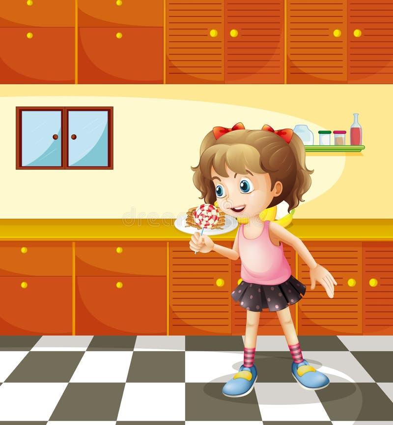 En flicka som äter klubban vektor illustrationer