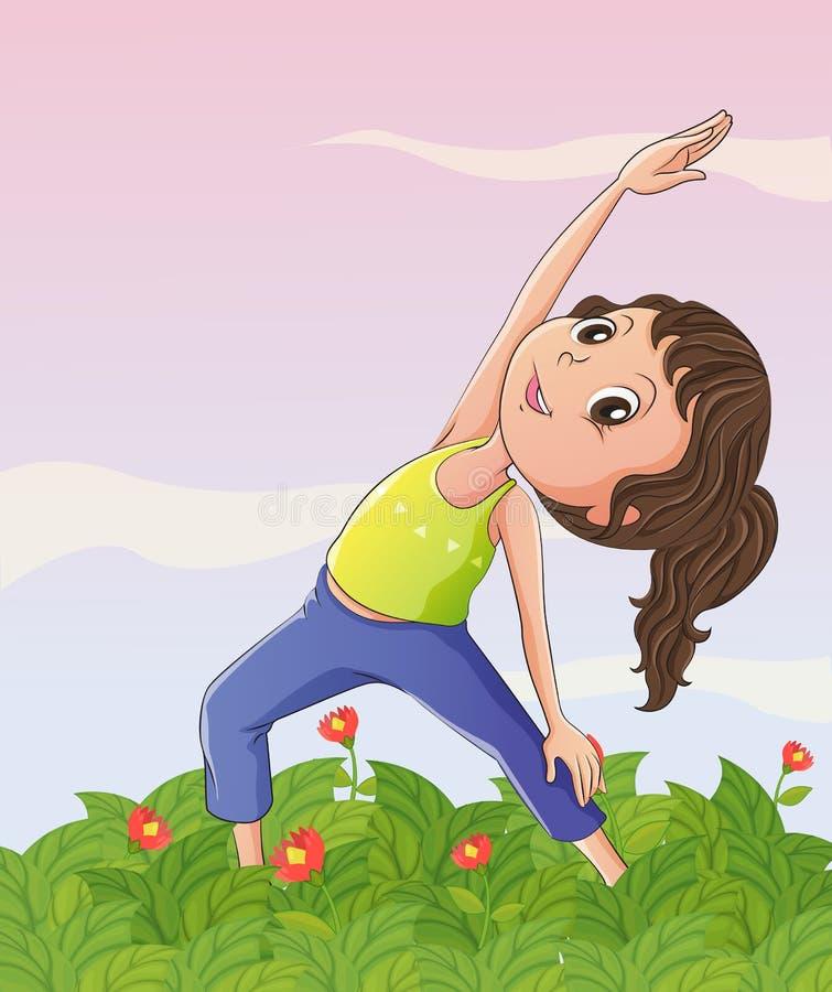 En flicka som övar på trädgården stock illustrationer