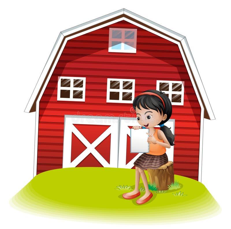 En flicka som framme läser av barnhousen royaltyfri illustrationer