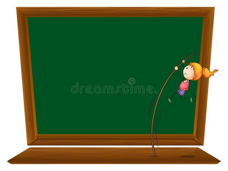 En flicka som framme utför en stavhopp av ett tomt bräde